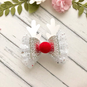 Christmas Bow - White Tulle Deer