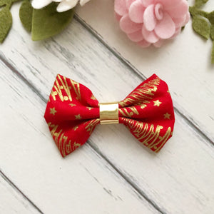 Christmas Bow - Red and Gold Fabric Bow