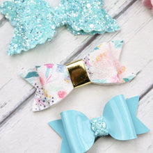 Ella, Taylor and Olivia Bow Set - Blue and Floral
