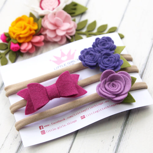 Felt Flowers and Taylor Bow Triple Pack