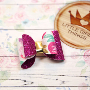Lucy Bow - Glitter Purple and Suede Floral