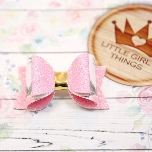 Lucy Bow - Glitter Pink and Floral Suede
