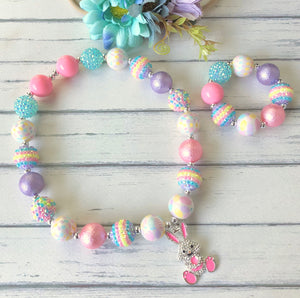 Bubblegum Necklace and Bracelet Set with Pink Bunny and Egg