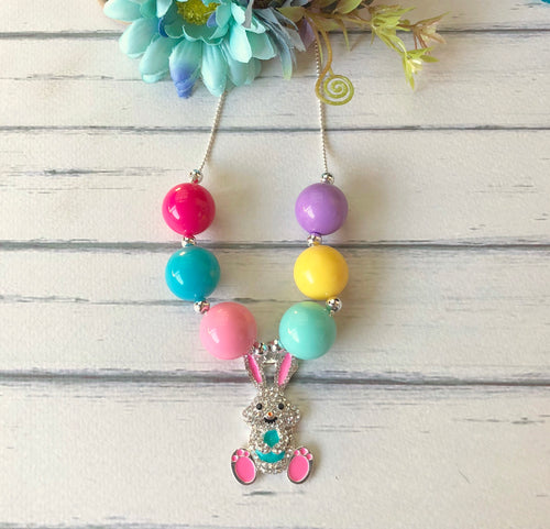 Bubblegum Necklace with Teal Bunny