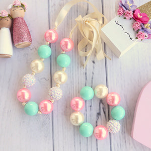 Bubblegum Necklace and Bracelet Set in Mint, Cream and Pink