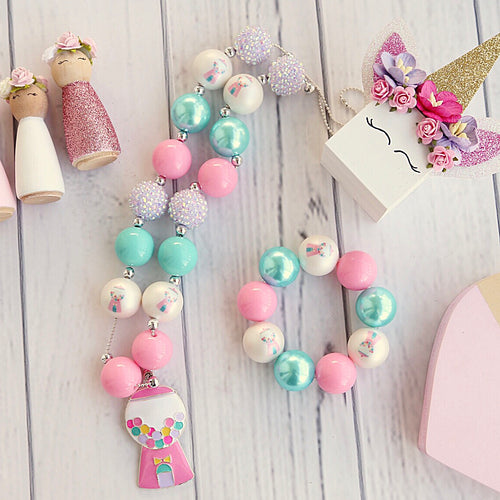 Bubblegum Machine Necklace and Bracelet Set