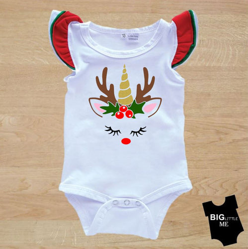 Christmas Flutter Onesie - White Unicorn Deer Face