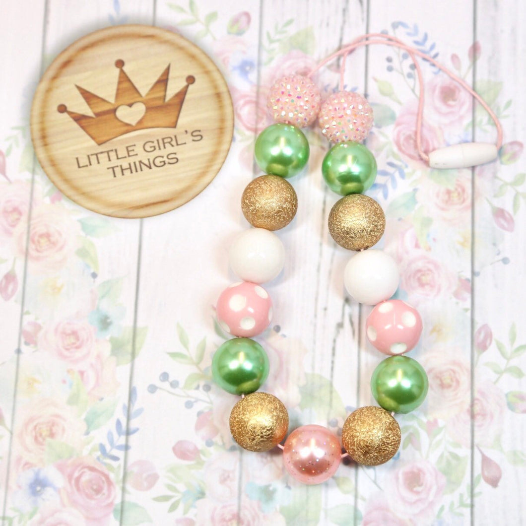 Bubblegum Necklace with Pink, Gold and Sage