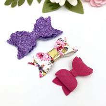 Ella, Taylor and Olivia Bow Set - Purple Glitter and Pink Floral