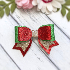 Christmas - Red Glitter Double Bows