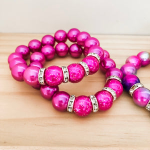 Bubblegum Bracelet - Sparkles and Bling Raspberry