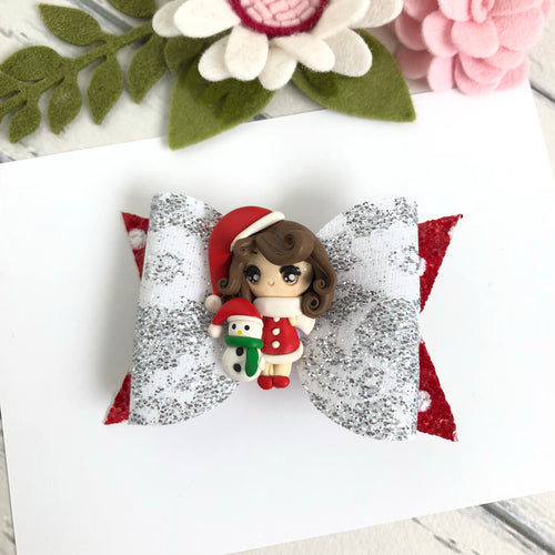 Christmas Clara Bow - Girl with Christmas Snowman Clay