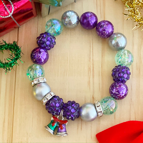 Christmas Bubblegum Bracelet - Teal and Purple Bells Charm