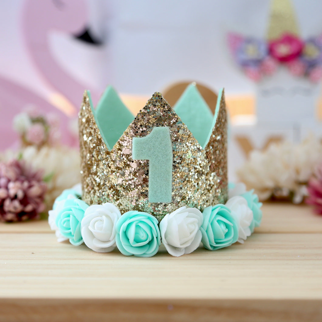 Birthday Crown with Flowers - Mint