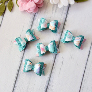 Milli Bow - Watercolour Floral & Teal Glitter