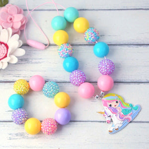 Bubblegum Necklace and Bracelet Set - Unicorn Girl