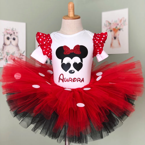 Red & Black Tulle with White Dot - Minnie Tutu and Top