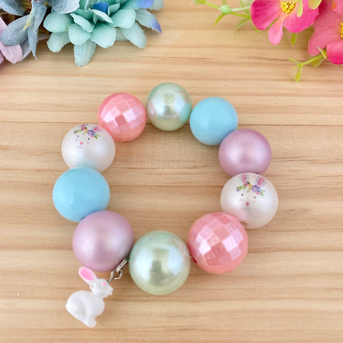 Bubblegum Bracelet - Easter Pastel with Bunny Charm