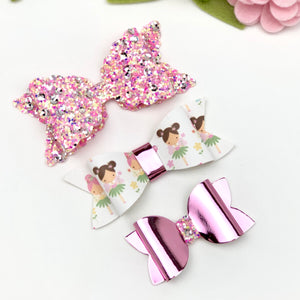 Ella, Taylor and Olivia Bow Set - Sequin Glitter Pink, Ballerinas and Shiny Pink