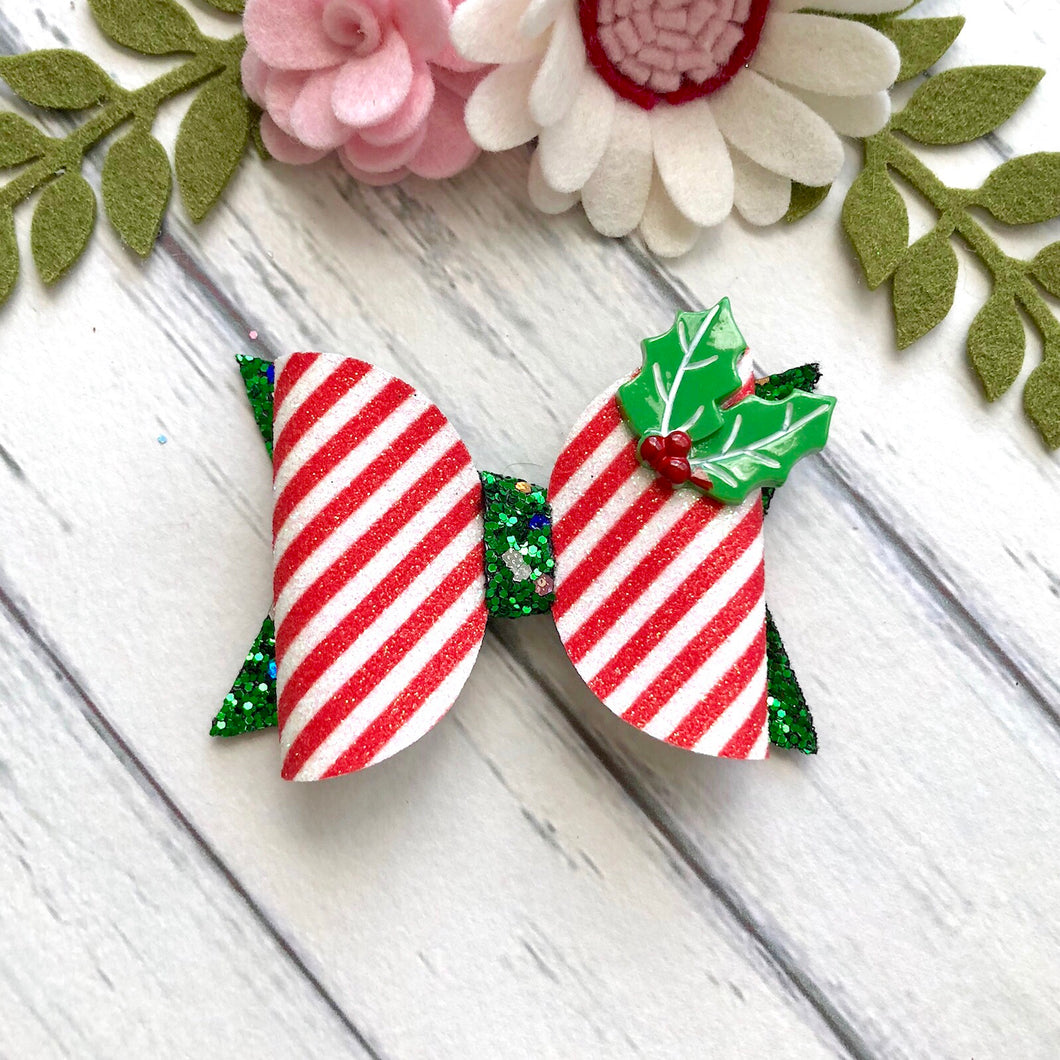 Christmas Bow - Candy Cane and Holly (Clara)