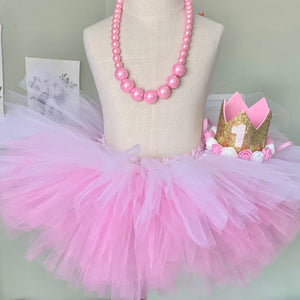 Cake Smash Outfit - First Birthday Deluxe Tutu Pink Bundle