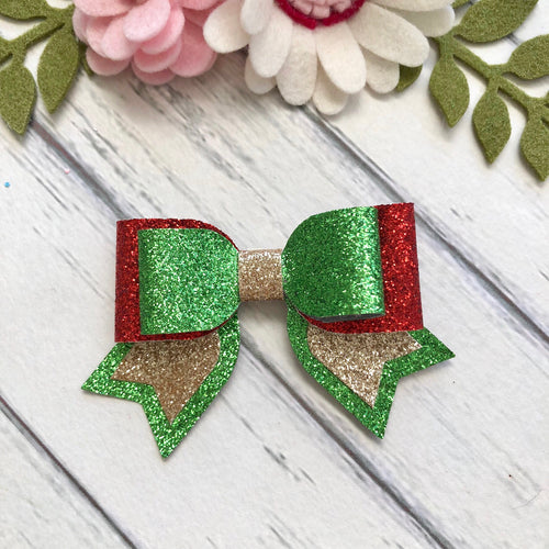 Christmas - Green Glitter Double Bows