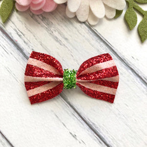 Christmas Avery Small Bow - Santa Stripes