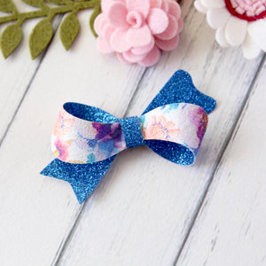 Layla Bow - Blue Watercolour Floral & Glitter