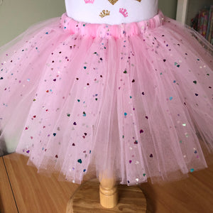 1st Birthday - Pink & Multi Coloured Hearts Tutu & Top