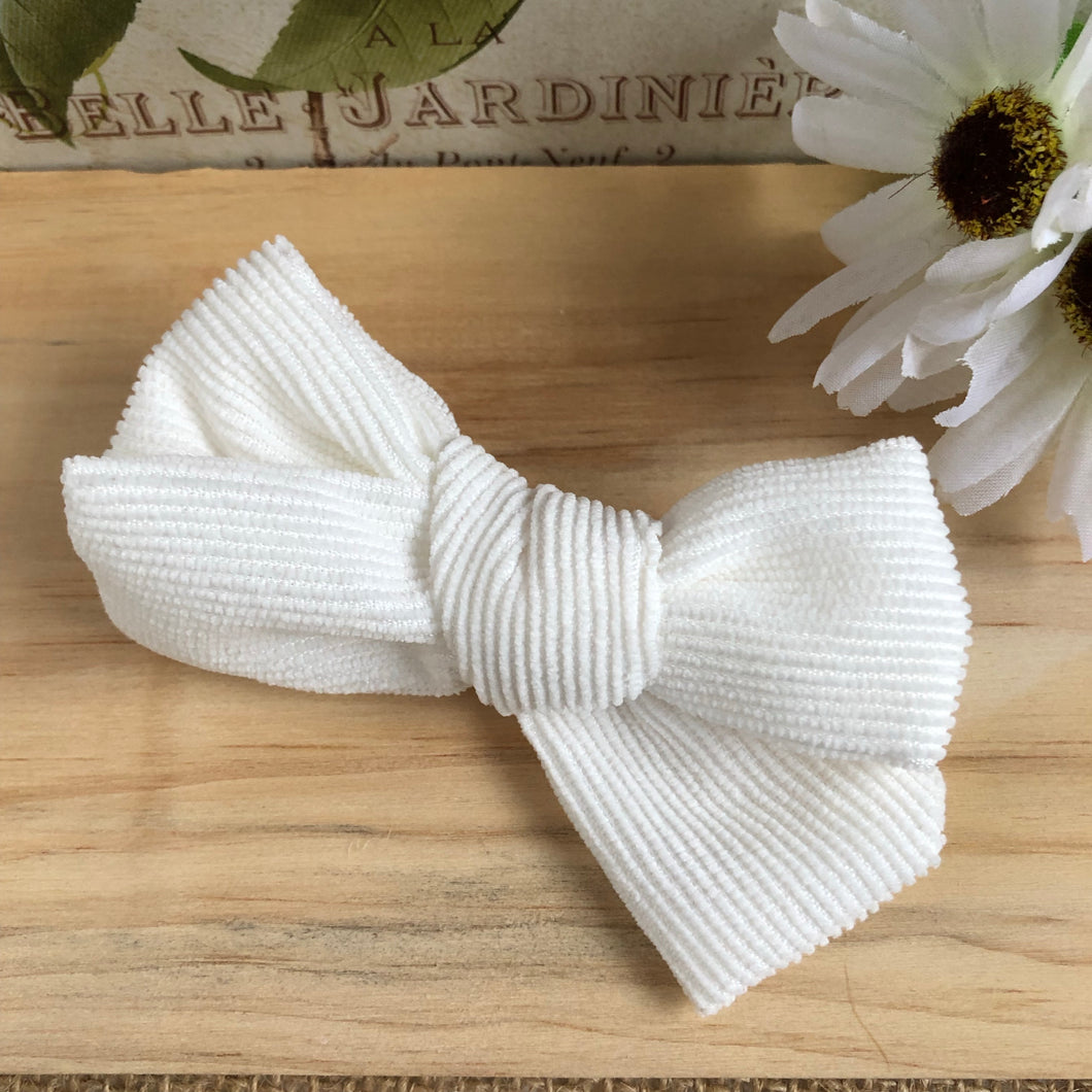 Evie Corduroy Bow - Winter White