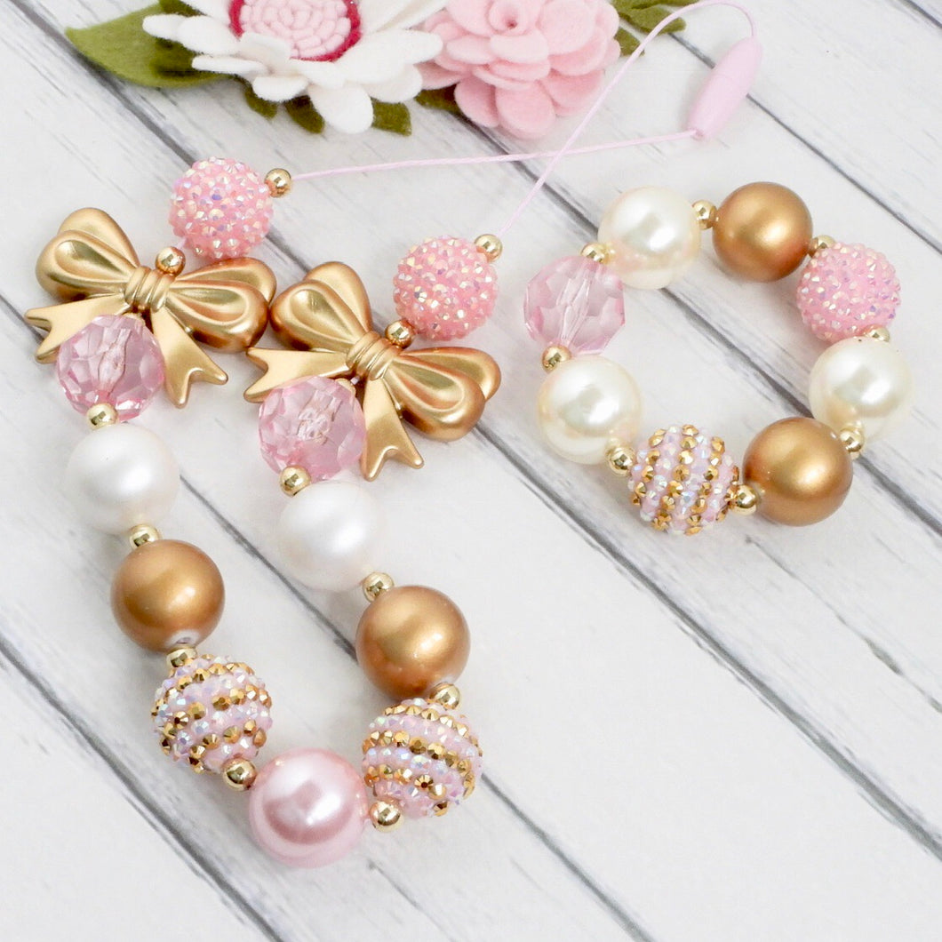 Bubblegum Necklace and Bracelet Set - Pink and Gold Bows