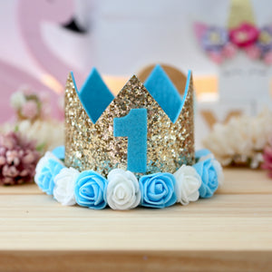 Birthday Crown with Flowers - Blue