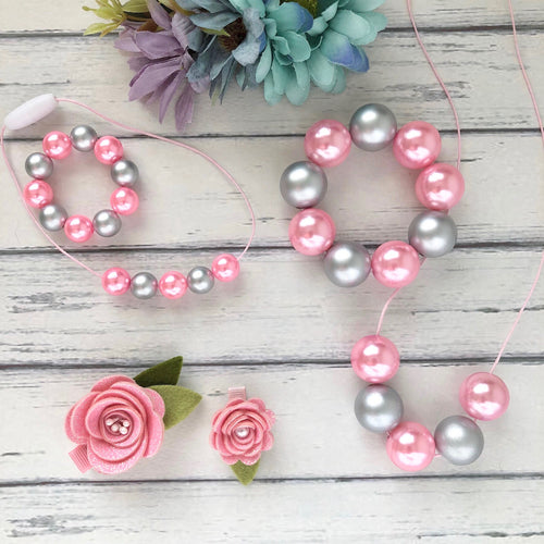 Necklace and Bracelet Sets in Pink and Silver