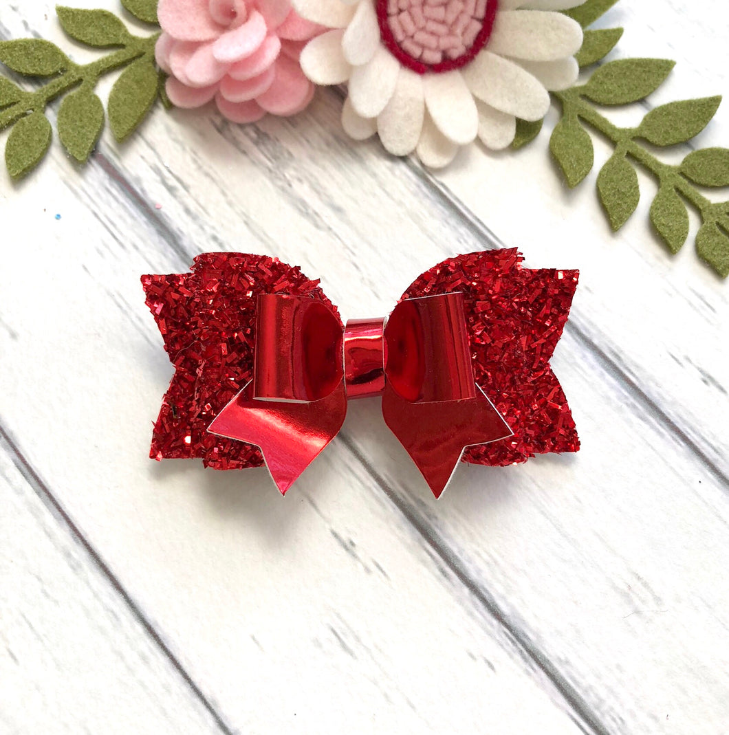 Christmas Bow - Red Tinsel