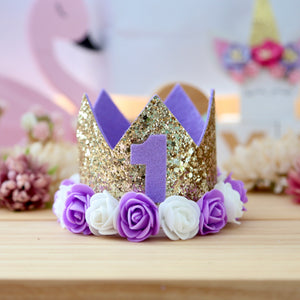 Birthday Crown with Flowers - Purple