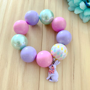 Bubblegum Bracelet - Easter Purple Bunny Charm