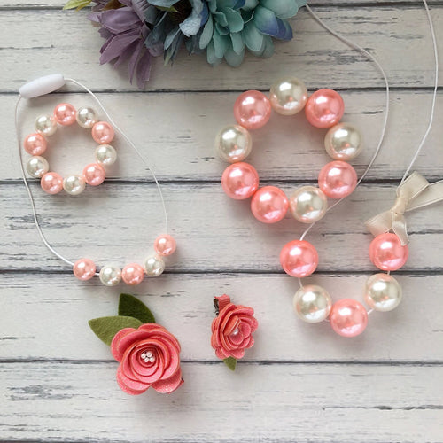 Necklace and Bracelet Sets in Coral Pink and Cream