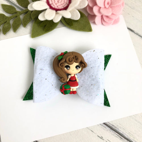 Christmas Clara Bow - Girl with Christmas Present Clay