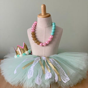 Cake Smash Outfit - First Birthday Deluxe Tutu Mint Bundle