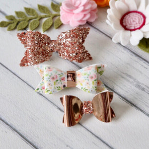 Ella, Taylor and Olivia Bow Set - Rose Gold