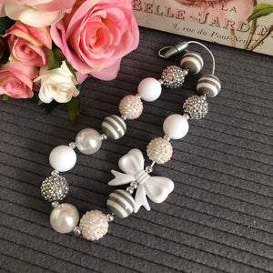 Bubblegum Necklace - Grey and White