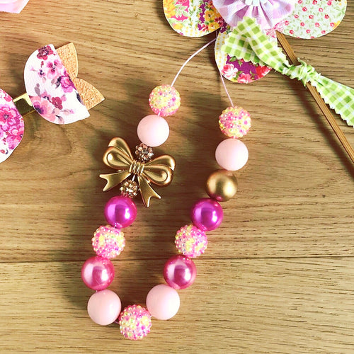 Bubblegum Necklace - CLAIRE Pinks and Gold