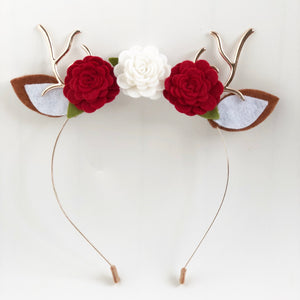 Christmas Headband - Felt Roses and Deer Antlers
