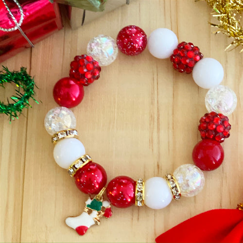 Christmas Bubblegum Bracelet - Stocking Charm