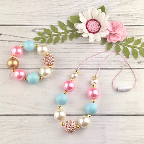 Bubblegum Necklace and Bracelet Set - Gold, Pink and Blue