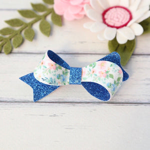 Layla Bow - Blue Floral Glitter