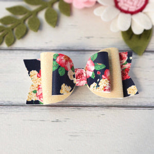 Sadie Bow - Lemon Glitter and Navy Floral