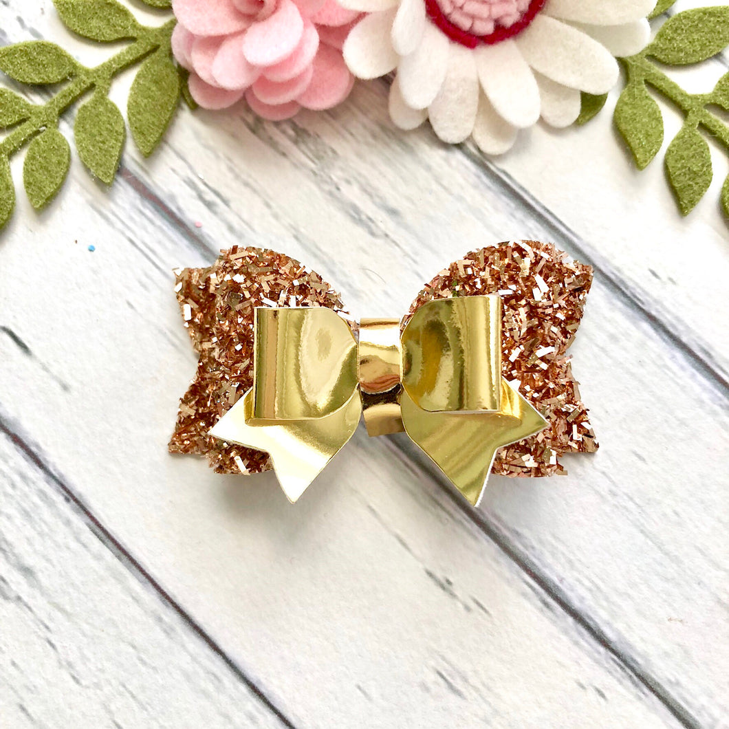 Christmas Bow - Gold Tinsel