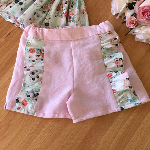 Bunny and Deer Ruffled Shorts in Pink Linen