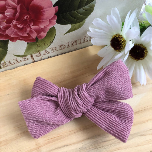 Evie Corduroy Bow - Dusty Pink